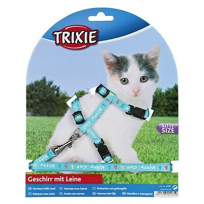 Kitten harness and lead, various colours. snap buckles, kitty cat motif(4181) 2