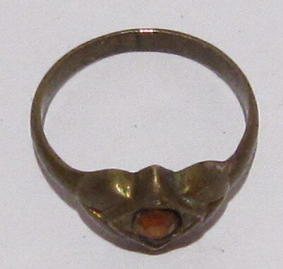 VINTAGE NICE BRONZE RING WITH YELLOW STONE FROM THE EARLY 20th CENTURY # 17B 7