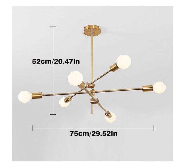 Modern Gold Metal Sputnik Chandelier Mid Century Pendant