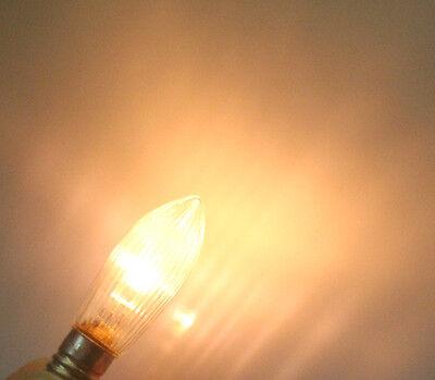30Stk LED 0,2W E10 10-55V Topkerzen Riffelkerzen Spitzkerzen Ersatz Lichterkette 8