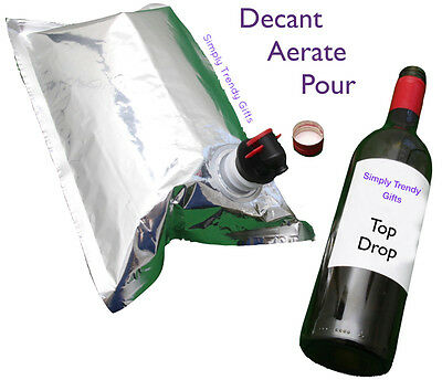 Pure Class Wine Bag LADIES + MAN BAG Carry & Pour Cask Wine straight Bag BYO