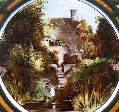 Painted Cottage By Lake English Victorian Antique Stained Glass Window 2