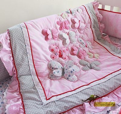 New Baby Girls 9 Pieces Pink Butterfly Cotton Nursery Bedding Crib Cot Sets
