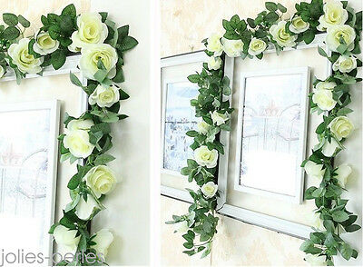 2.25m Artificielle Rose Guirlande de soie Fleur Mariage Party Home Decor 2