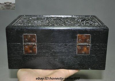 "8""Old Chinese Palace Rosewood Wood Carved Dragon Totem Jewelry Boxstorage boxes 4"