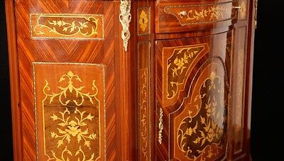 Pair French Empire Cabinets Chests Marquetry Inlay 2