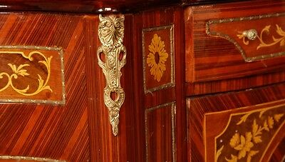 Pair French Empire Cabinets Chests Marquetry Inlay 7