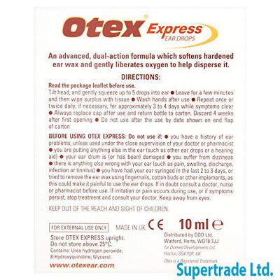 Otex Express Ear Drops Dual Action Treat Hardened Ear Wax - 10ml 6