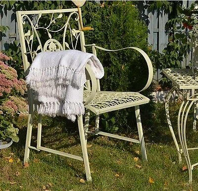 TABLE DE JARDIN Ajoure Metal Style Ancien Shabby Chic Patine Blanc ...