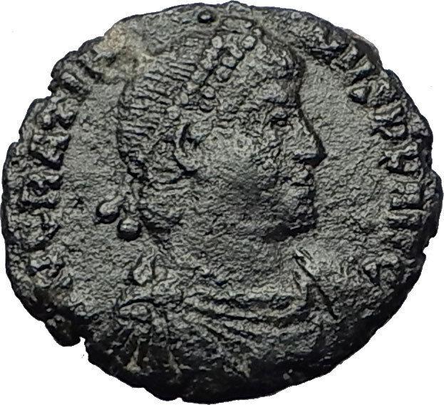 GRATIAN 367AD Very RARE Ancient Roman Coin Chi-Rho Labarum & Crosses i59358 2