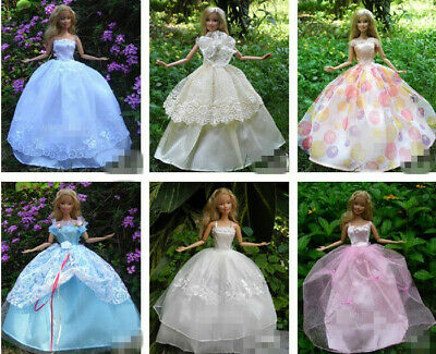 15 items=5* Fashion Handmade Party Dress/Clothes/Gown +10 shoes For 29cm Doll 6