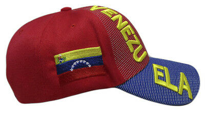 Venezuela Country Letters Emblem Red With Blue Bill 3-D Embroidered Cap Hat 5