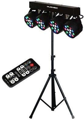 Complete Professional 4-Par Stage LED Lights DJ Band DMX System & Stand MU-L31A 4