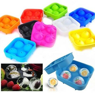 4-Ball Whiskey Ice Cube Maker Mold Sphere Mould Party Round Bar Ice Shot Glasses 5