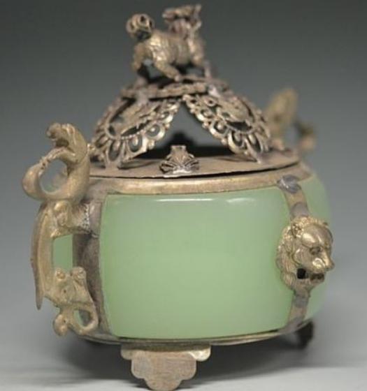 Unique Chinese Silver Copper Inlaid Jade Dragon Lion Incense Burner 2