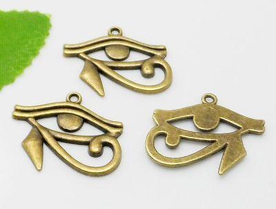 10pcs Antique Bronze Rah Egypt Eye Of Horus Egyptian Charms Pendants 27x33mm 2
