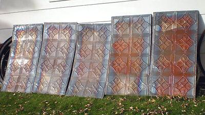 """24""""x48"""" Antique Iridescent Victorian Ceiling Tin w 8 Tiles Fleur De Li Chic 4"""