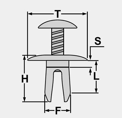 10x Motorhaube Unterboden Kühlergrill Befestigungs Clips für PEUGEOT