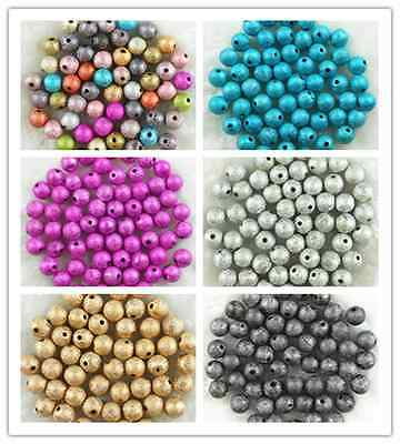 4mm 6mm 8mm 10mm Acrylic Stardust Round Spacer Loose Beads DIY Jewelry Making 2