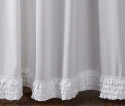 """84"""" Long White Sheer Ruffled Window Curtains Romantic Cottage Cotton 2 Panels 3"""