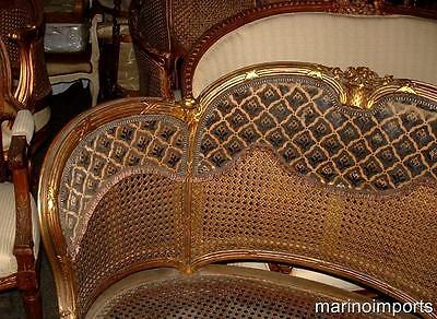 19th C. French Louis XVI Cane Corbeille Settee Chair~ 4