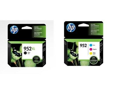 HP 952XL Black & 952 Color Ink Combo  Pack of 4 Exp 2021+ 2