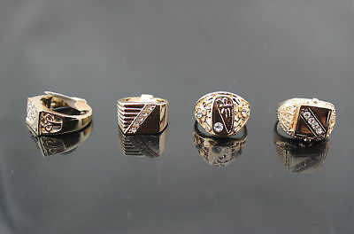 Wholesale mixed Lots 50pcs Crystal rhinestone Men's rose gold plated rings 3