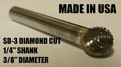 "SD3D Ball Shape Tungsten Carbide Burr Bur Cutting Tool Die Grinder Bit 1//4/"" NEW"