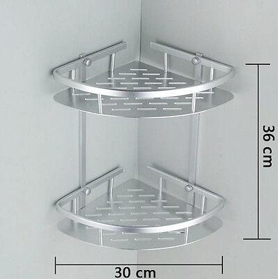 2 TIER CHROME Corner Shower Caddy Bathroom Storage Rack Shelf ...