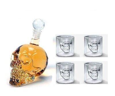 Glass Bottle Glasses Set 3D Crystal Skull Spirit Bourbon Vodka Whiskey Bar Sets