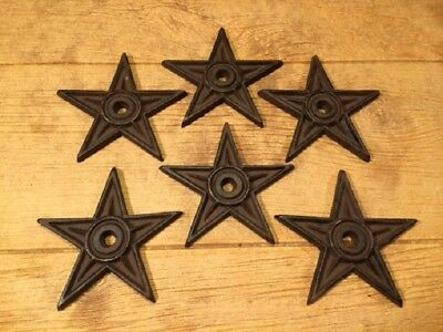 "Cast Iron Center Hole Star Anchor Plates Rustic Large 6 1/2"" wide 0170-02106 9"
