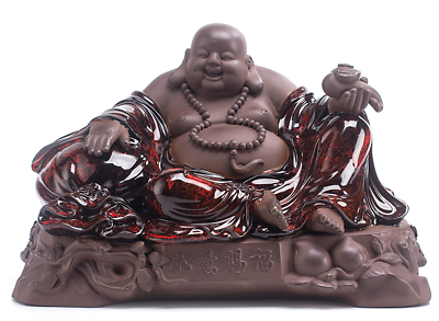 "16"" Chinese Pottery Tao Porcelain Happy Laugh Maitreya Buddha Wealth Ruyi Statue 2"