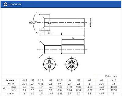 M1 6 M2 M3 M4 M6 Stainless Countersunk Flat Head Cross