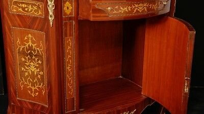 Pair French Empire Cabinets Chests Marquetry Inlay 4