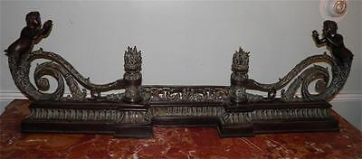 Ornate Bronze Figural Mythological Fireplace Fender Chenet 2