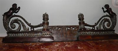 Ornate Bronze Figural Mythological Fireplace Fender Chenet 11