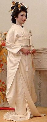 Japanese Shiromuku Royal UCHIKAKE/Wedding Kimono Oyster Silk 'Cranes & Pine' M/L 8