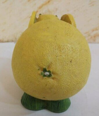 Vintage Wood Statue Figurine Mouse Wooden Yellow Hand Carved Lemon Art Paint 9