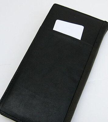 Black Leather Travel Organizer Wallet Boarding Pass Zip Passport Ticket Holder 2