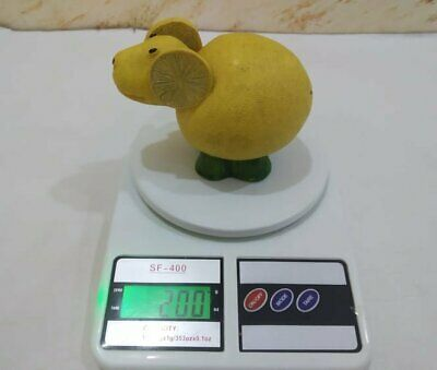 Vintage Wood Statue Figurine Mouse Wooden Yellow Hand Carved Lemon Art Paint 5