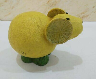 Vintage Wood Statue Figurine Mouse Wooden Yellow Hand Carved Lemon Art Paint 7