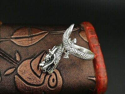 925 Sterling Silver Men's dragon punk  Retro ring rings Jewelry S3406 2