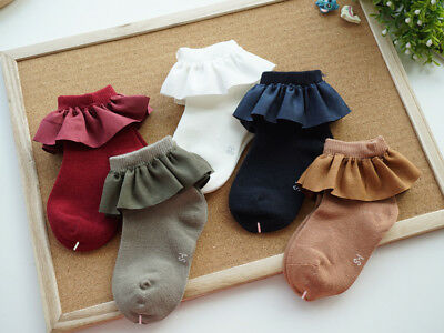 Girls Children Kids Toddlers Vintage Style Frilly Ankle Knee School Socks (2-8Y) 3