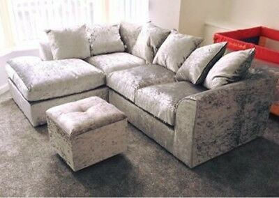 *Sale* Crushed Velvet Silver Original Glitz Chicago Corner Sofa 32 Seater Swivel 6