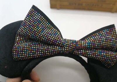 HongKong Disney Parks Minnie Mouse Headband Ears Sequin Costume Bow Hat 3