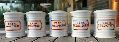 Apotheker - 5 süße, alte Porzellantöpfe für bekannte giftige Inhalte :-) TOP!! 4