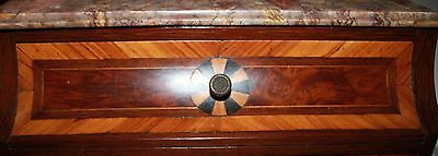 Miniature French Marble Top 19th Century Commode 1 drawer pin wheel inlay 2
