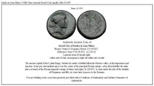 Sardes in Asia Minor  133BC Rare Ancient Greek Coin Apollo Club i31495 3