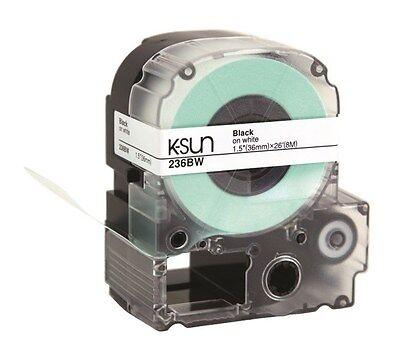 "K-Sun 236BW Black on White Tape 1-1/2"" KSun 36mm 236BWPX"