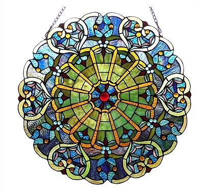 "LAST ONE THIS PRICE Round Tiffany Style Stained Glass Victorian Window Panel 23"" 2"